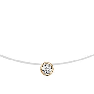 1001 Bijoux - Collier plaqué or fil nylon solitaire oxyde blanc serti clos 3mm 41cm pas cher