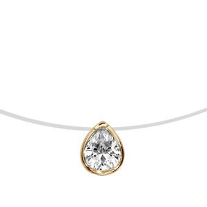 1001 Bijoux - Collier plaqué or fil nylon forme goutte oxyde blanc 40cm pas cher