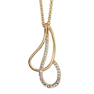1001 Bijoux - Collier plaqué or pendentif goutte évidée croisée oxydes blancs sertis 40+4cm pas cher