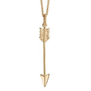 1001 Bijoux - Collier plaqué or pendentif forme flèche lisse 40+4cm pas cher