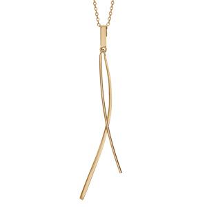 1001 Bijoux - Collier plaqué or 2 baguettes lisses 40+4cm pas cher