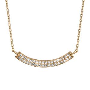 1001 Bijoux - Collier plaqué or forme demi lune oxydes blancs sertis 42+3cm pas cher