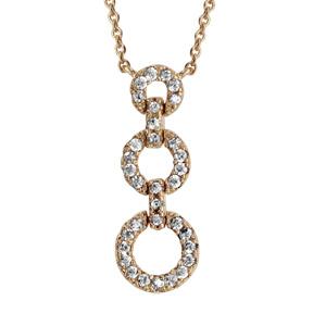 1001 Bijoux - Collier plaqué or triple anneaux oxydes blancs sertis 40+4cm pas cher
