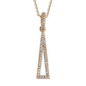 1001 Bijoux - Collier plaqué or pendentif triangle alonge évidé oxydes blancs 40+4cm pas cher