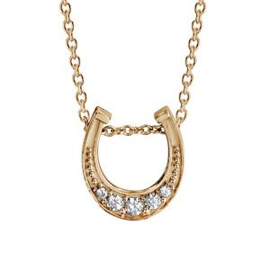1001 Bijoux - Collier plaqué or pendentif fer à cheval oxydes blancs sertis 42+3cm pas cher