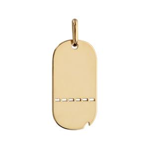1001 Bijoux - Plaque GI plaqué or ajourée avec matricule et GS petit modèle 25*13 pas cher