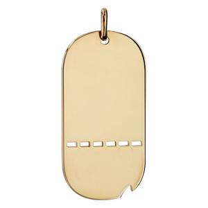 1001 Bijoux - Plaque GI plaqué or ajourée avec matricule et GS très grand modèle 50*26 pas cher