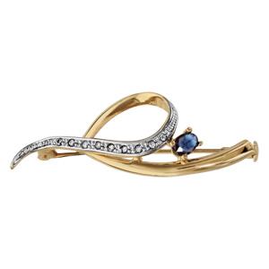 Broche En plaqué or ruban enroulé avec 1 extrémité ornée d'oxydes blancs et 1 oxydes bleu foncé ovale au milieu