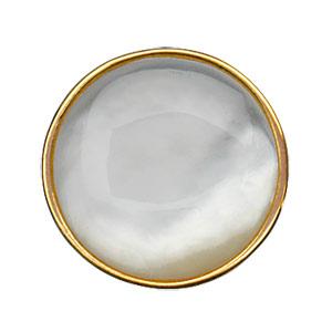 Bague Argent rhodié nacre blanche