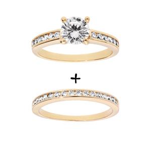 1001 Bijoux - Bague plaqué or double anneau rail zirconias blancs et solitaire blanc pas cher