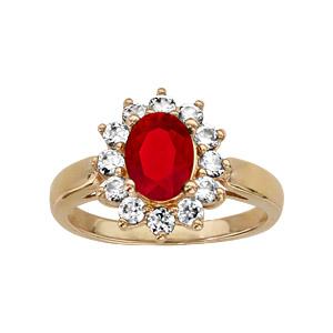 1001 Bijoux - Bague plaqué or pierre centrale rouge contour pierres blanches pas cher