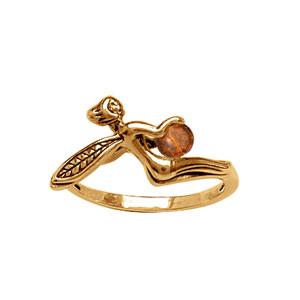 Bague Plaqué or elfe et ambre