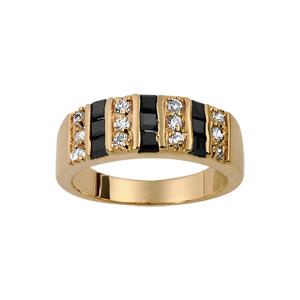 1001 Bijoux - Bague plaqué or anneau pierres barrettes blanches et noires pas cher