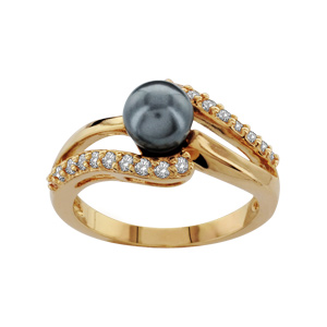1001 Bijoux - Bague plaqué or perle imitation grise 2 vagues pierres blanches pas cher