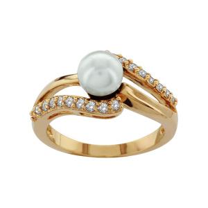 1001 Bijoux - Bague plaqué or perle imitation blanche 2 vagues pierres blanches pas cher