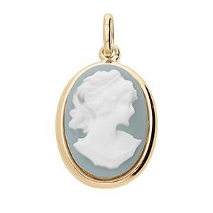 Image of Pendentif ovale grand modele Camée résine bleu
