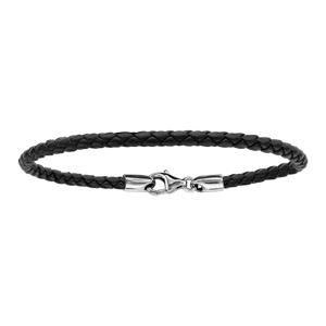 Bracelet En cuir noir tressé et fermoir en argent rhodié - longueur 17,5cm
