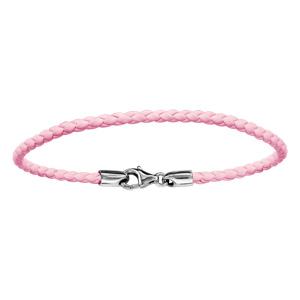 Bracelet En cuir rose tressé et fermoir en argent rhodié - longueur 17,5cm
