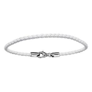 Bracelet En cuir blanc tressé et fermoir en argent rhodié - longueur 17,5cm