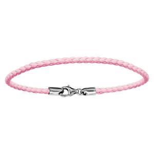 Bracelet En cuir rose tressé et fermoir en argent rhodié - longueur 19,5cm