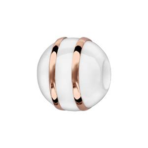 Charms Boule en céramique blanche avec 2 filets en argent et pvd rose