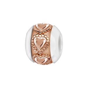 Charms Boule en céramique blanche avec 1 bande en argent et pvd rose ornée de coeurs ouvragés