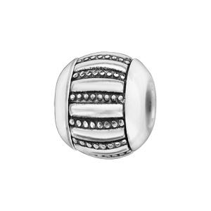 Charms Boule en céramique blanche avec 1 bande large en argent rhodié rayée lisse et petits clous