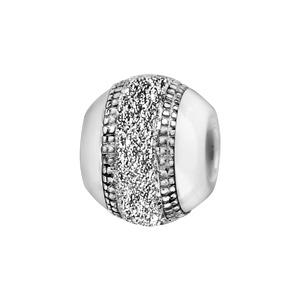 Charms Boule en céramique blanche avec 1 bande en argent rhodié cloutée aux bords et granitée au milieu