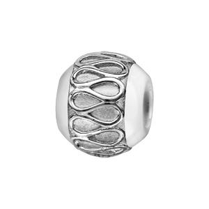 Charms Boule en céramique blanche avec 1 bande en argent rhodié ornée d'un lacet sinueux