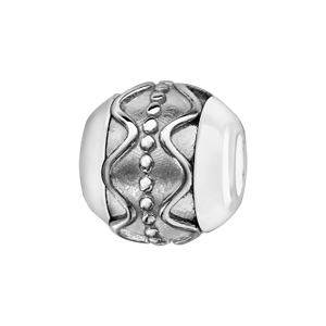 Charms Boule en céramique blanche avec 1 bande en argent rhodié ornée de vagues et de clous