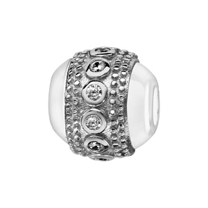 Charms Boule en céramique blanche avec 1 bande en argent rhodié cloutée aux bords et ornée d'oxydes blancs sertis clos au milieu