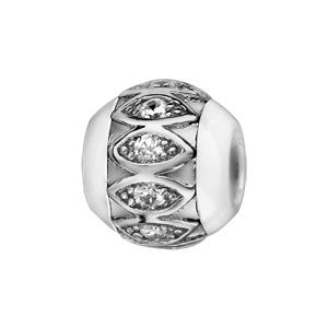 Charms Boule en céramique blanche avec 1 bande en argent rhodié ornée d'amandes et oxydes blancs à l'intérieur