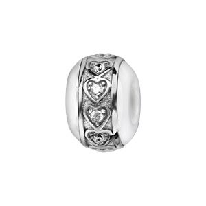 Charms Boule en céramique blanche avec 1 bande en argent rhodié ornée de coeurs avec oxydes blancs sertis clos à l'intérieur