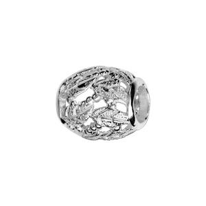 Image of Charms coulissant argent rhodié forme tonneau motif feuille
