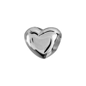 1001 Bijoux - Charms coulissant argent rhodié coeur pas cher