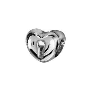 1001 Bijoux - Charms coulissant argent rhodié coeur serrure pas cher