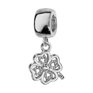 1001 Bijoux - Charms coulissant argent rhodié suspendu trèfle à 4 feuilles avec pierres blanches pas cher