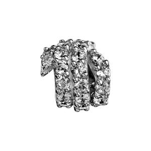 1001 Bijoux - Charms coulissant argent rhodié boule serpent oxydes blancs sertis pas cher
