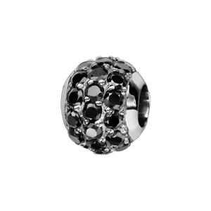 1001 Bijoux - Charms coulissant argent rhodié boule pierres noires serties pas cher