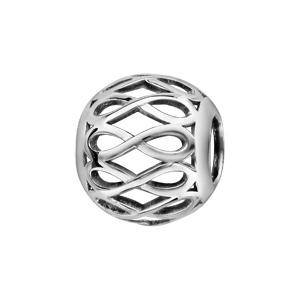 Image of Charms coulissant argent rhodié boule motif infini