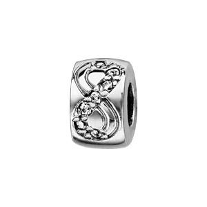 Image of Stopper argent rhodié rondelle articulée motif infini avec oxydes blancs sertis