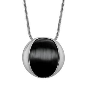 Image of Collier argent rhodié chaine tube pendentif oeil de chat noir 42cm