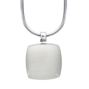 Image of Collier argent rhodié pendentif carré pierre oeil de chat blanc 42+3cm