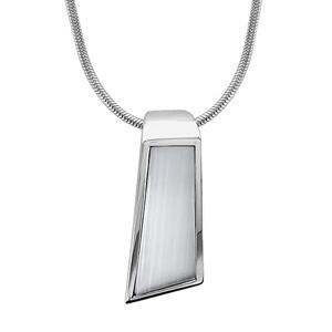 Image of Collier argent rhodié pendentif verticale nacre blanche véritable 42+3cm