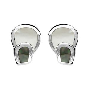 1001 Bijoux - Boucles d'oreille argent rhodié 2 éléments nacre véritable blanche et noire pas cher