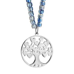 Sautoir acier et perles de verres bleues avec pendentif arbre de vie 80+5cm - Vue 1